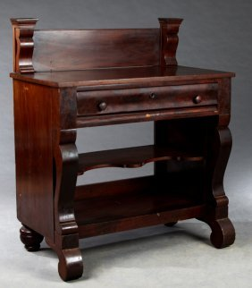 American Classical Carved Mahogany Washstand, 19th C.,