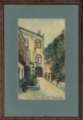 "R.p. Henderson, ""french Quarter Courtyard,"" 20th C.,"