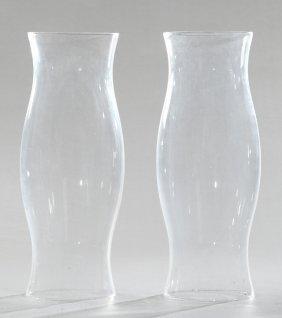 Pair Of Blown Glass Hurricane Shades, Early 20th C.,