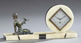 French Art Deco Onyx And Marble Mantel Clock, C. 1940,