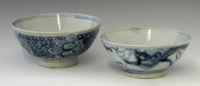 Two Oriental Blue And White Porcelain Rice Bowls, Late