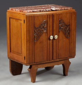 French Art Deco Carved Cherry Marble Top Nightstand,