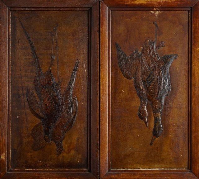 Pair of Relief Pressed Wood Natur Morte Panels, c.