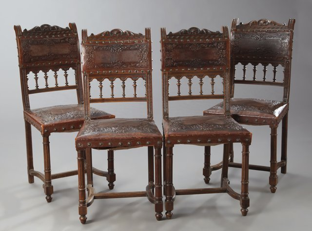 Set of Four French Henri II Style Carved Walnut Dining