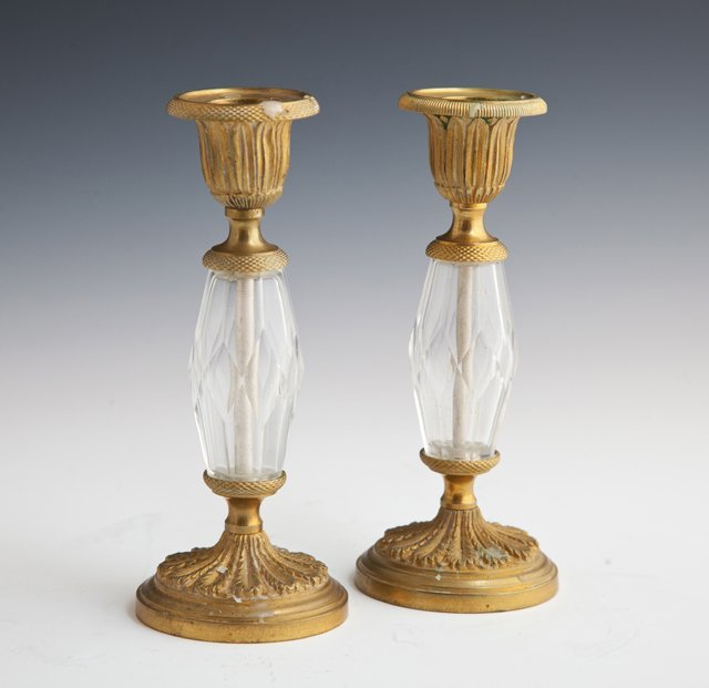 Pair of Diminutive Crystal and Gilt Bronze