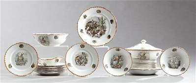 Twenty-Eight Piece Set of French Ceramic Dinnerware,