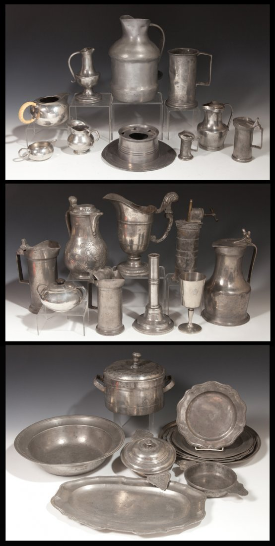 Large Group of Twenty-Eight Pieces of French Pewter,