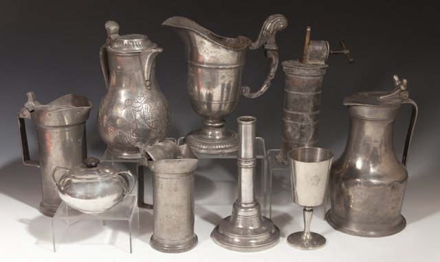Large Group of Twenty-Eight Pieces of French Pewter, - 2