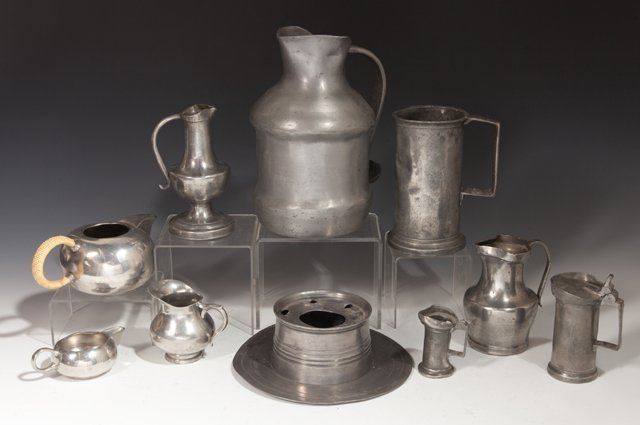 Large Group of Twenty-Eight Pieces of French Pewter, - 3