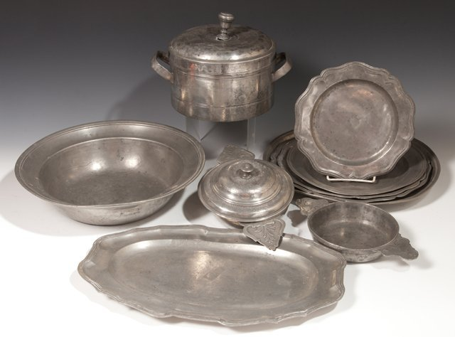 Large Group of Twenty-Eight Pieces of French Pewter, - 4