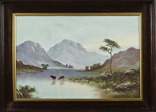 "B. Ward, ""Cows Watering in the Mountain Lake,"" 20th c.,"