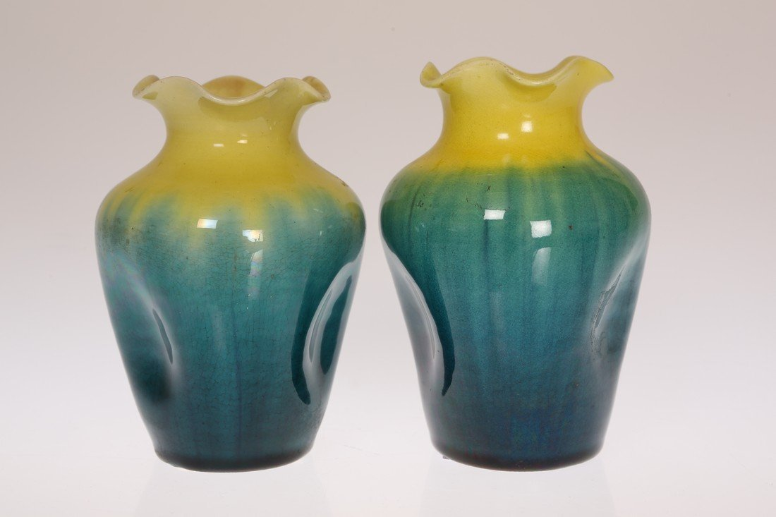 LINTHORPE POTTERY, NO. 1350 TWO DIMPLED VASES, of