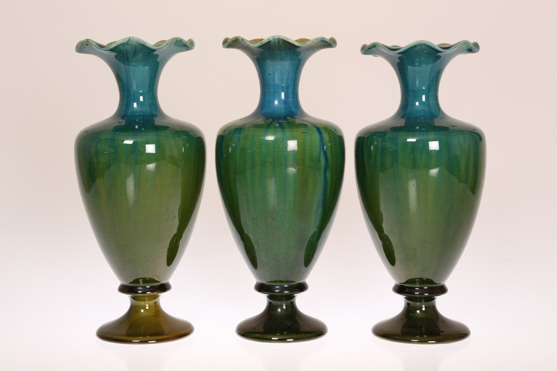 LINTHORPE POTTERY, NO. 2010 THREE VASES, of pedestal