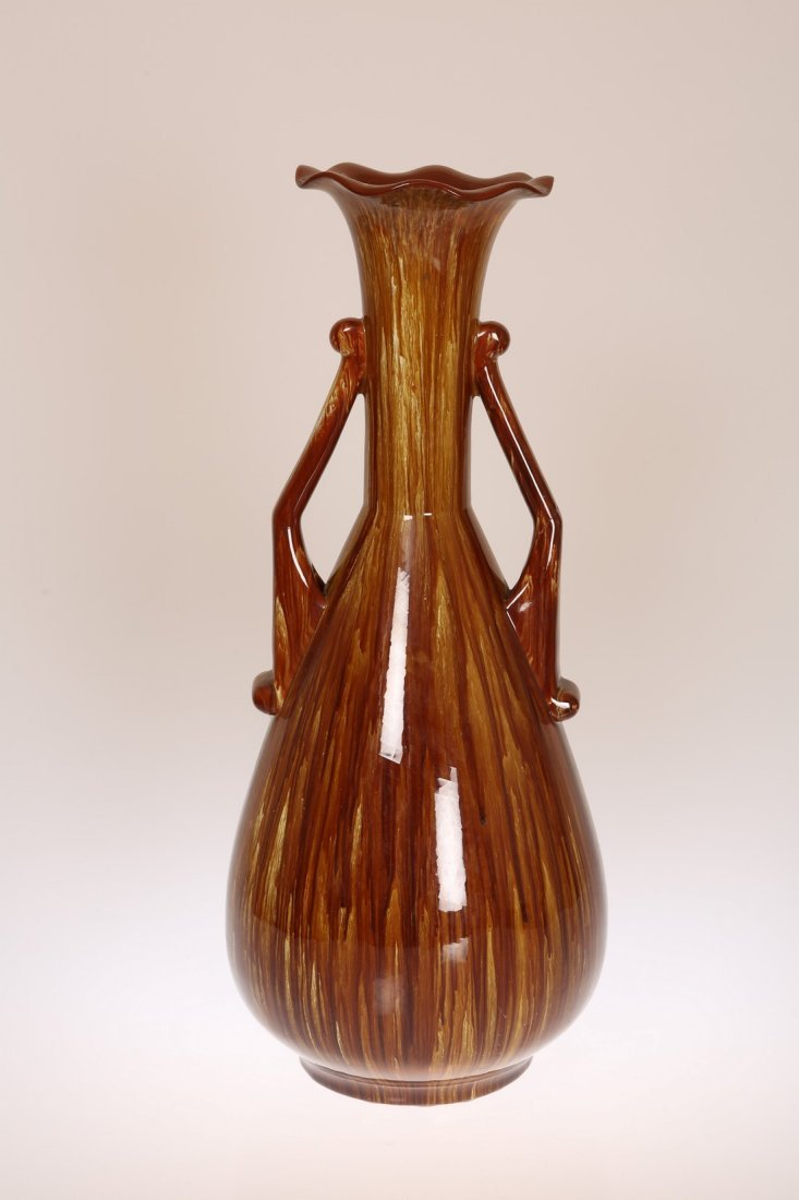 LINTHORPE POTTERY, NO. 2078 A LARGE TWO-HANDLED VASE,