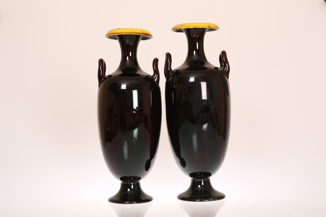 LINTHORPE POTTERY, NO. 2159 A PAIR OF TWO-HANDLED