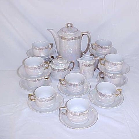 1: Coffee set mother of pearl