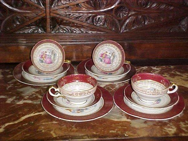 2: Red Bavarian china coffee set
