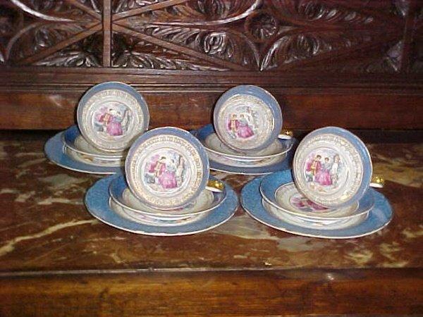 3: Blue Bavarian china coffee set