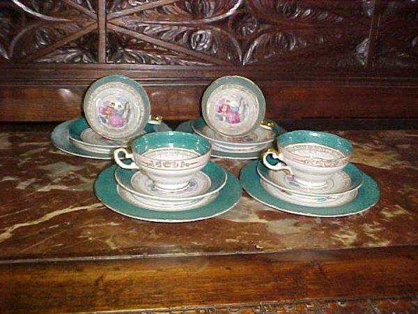 4: Green Bavarian china coffee set