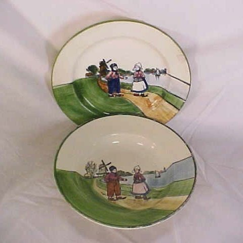 6: Vintage German made hand painted Dutch scene bowl an