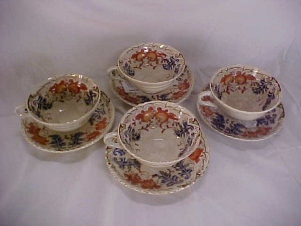 7: Lot of 4 hand painted cups and saucers Red letter Ma