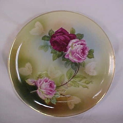12: German hand painted floral plate