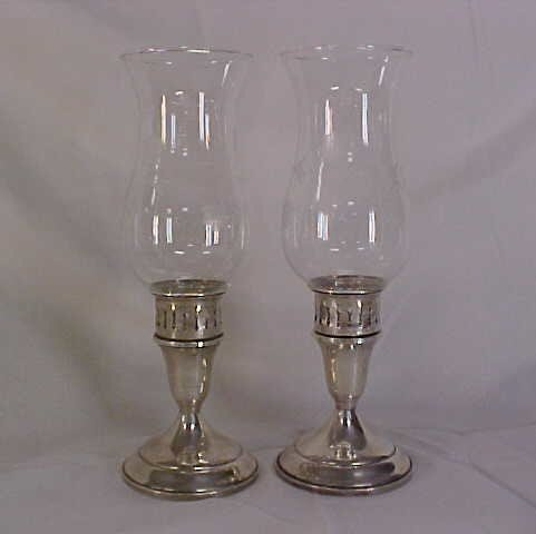 13: Pair of crystal and Towle sterling candle holders