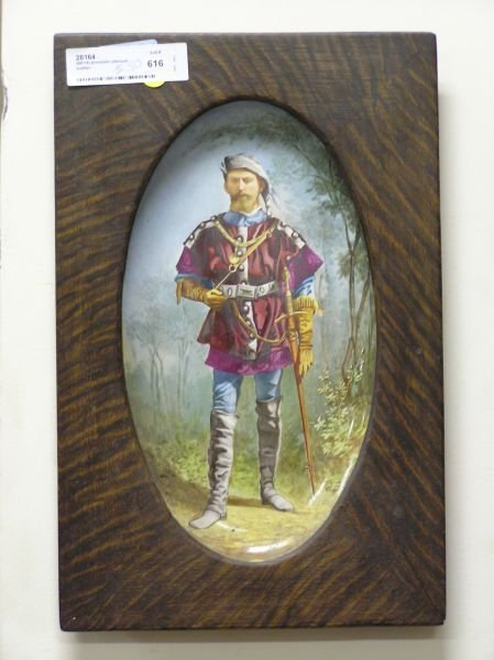 513: Hand Painted Platter in Oak Frame