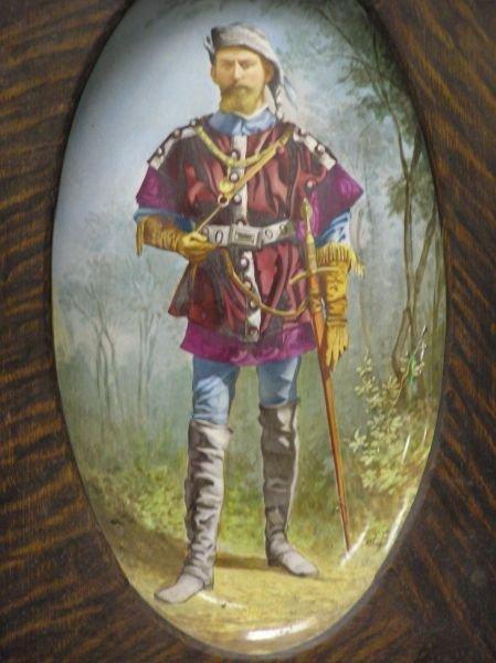 513: Hand Painted Platter in Oak Frame - 2