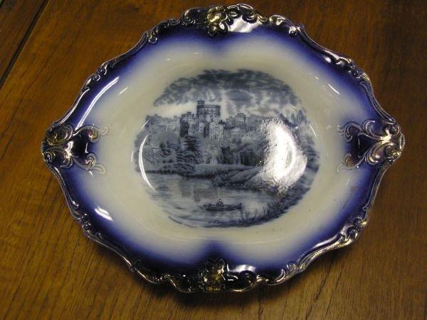 519: Early Flow Blue Bowl Windsor Castle Scene