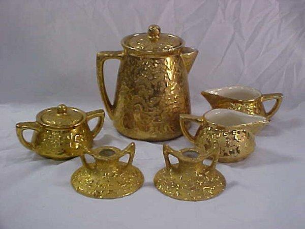 15: 8pc vintage McCoy 24k gold coffee set