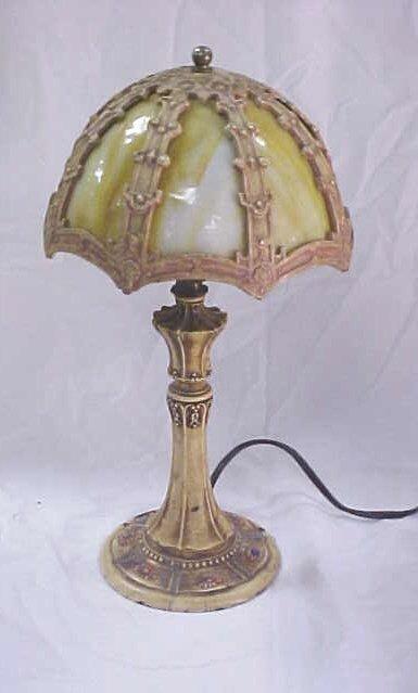 17: Vintage painted metal slag glass lamp