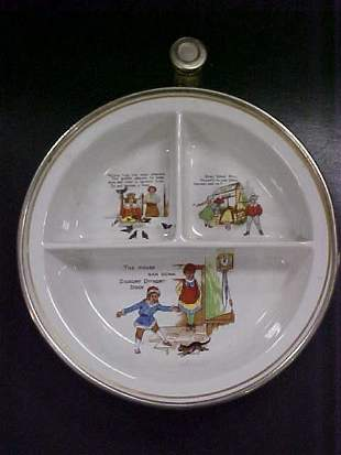 21: Vintage german made childs warmer plate w/metal hol