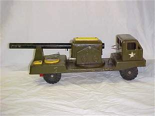 22: Vintage WWII toy Army cannon truck