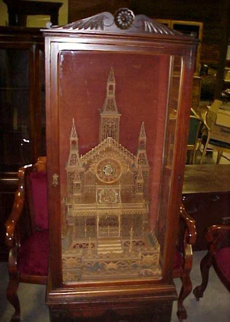 45: Antique German hand carved mansion clock in case