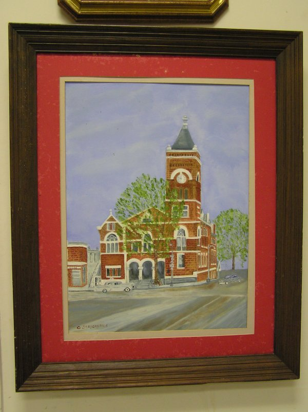 1: ARTIST SIGNED OIL ON CANVAS OF COURTHOUSE MARIETTA G