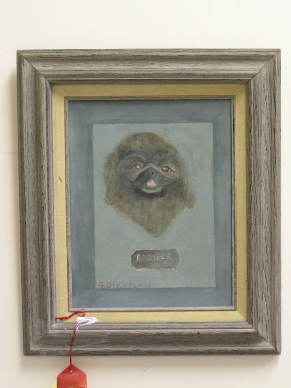 17: ARTIST SIGNED OIL ON CANVAS OF A DOG