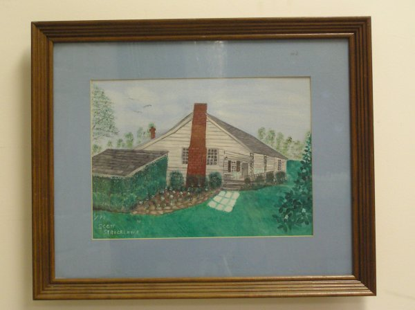 21: ARTIST SIGNED PAINTING OF A LOG HOME