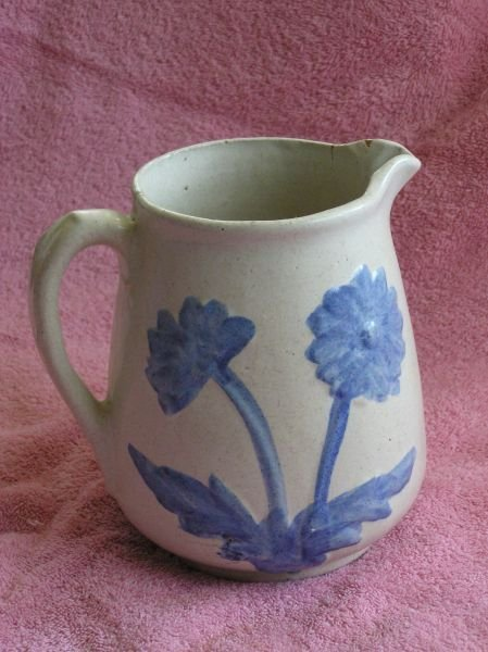 601: SALT GLAZE PITCHER WITH FLORAL DESIGN