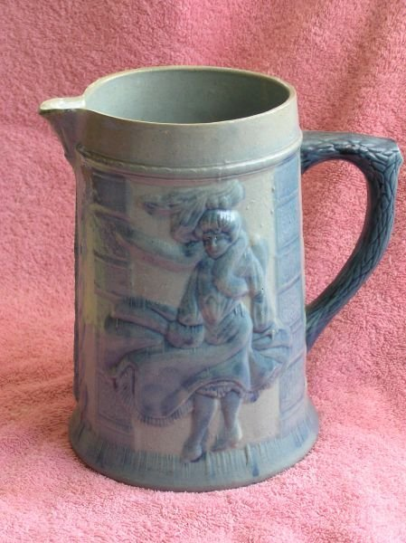 605: SALT GLAZE PITCHER WITH A DANCING GIRL