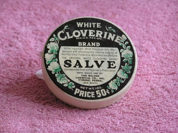 832: WHITE CLOVERINE BRAND SALVE TIN