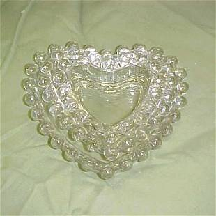 Lot of 3 heart shaped candlewick dishes