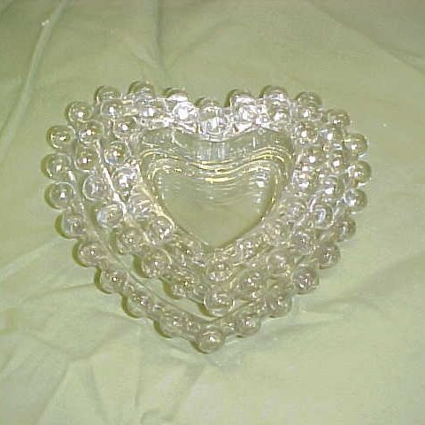 2001: Lot of 3 heart shaped candlewick dishes