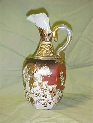 Rare unmarked Nippon porcelain ewer enameling