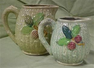 Lot of 2 majolica pitchers