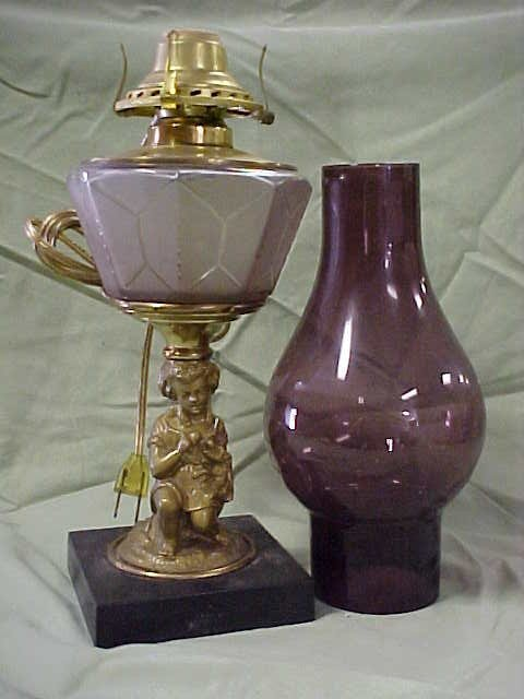 2021: Cherub lamp with amethyst shade