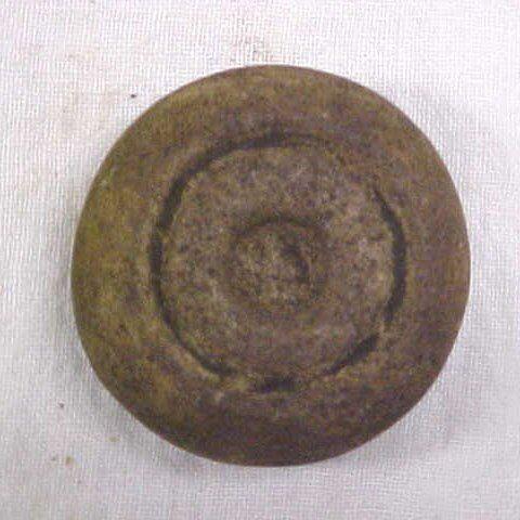 """Indian artifact 2"""" engraved discoidal"""