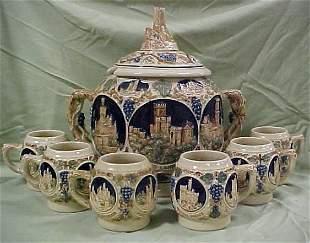 Large 7pc stoneware soup toureen w/ cups