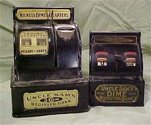 Lot of 2 early toy cash register banks