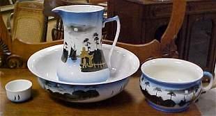 Antique hand painted Victorian 4 pc wash bowl set